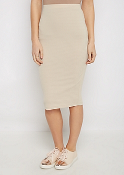 Cream Textured Knit Midi Skirt