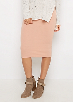 Pink Textured Knit Midi Skirt