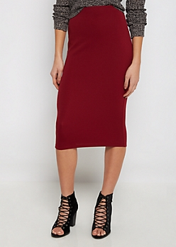 Burgundy Textured Knit Midi Skirt