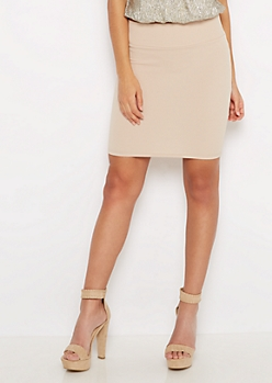 Taupe Textured Mini Skirt