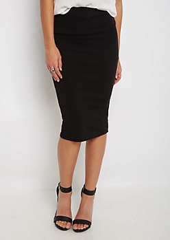 Black Textured Pencil Midi Skirt