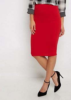 Red Textured Pencil Midi Skirt
