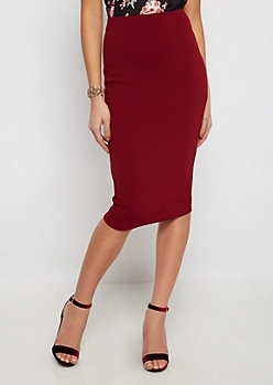 Burgundy Textured Pencil Midi Skirt