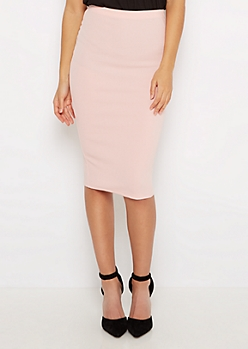 Pink Textured Pencil Midi Skirt