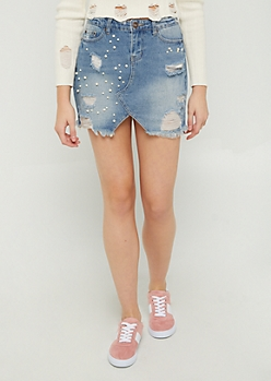 Destroyed Pearly Jean Mini Skirt