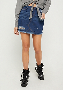 Destroyed & Studded Jean Mini Skirt