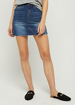 Vintage Raw Edge Jean Mini Skirt