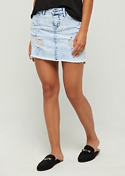 Acid Washed Raw Edge Jean Mini Skirt