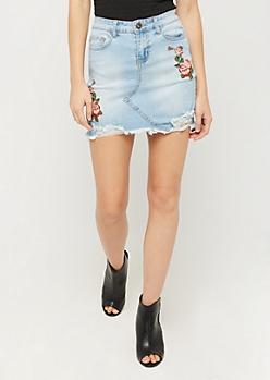Stitched Rose Distressed Jean Mini Skirt