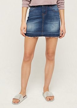 Sandblasted Released Hem Jean Mini Skirt