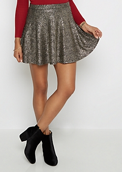 Gold Foil Speckled Skater Skirt