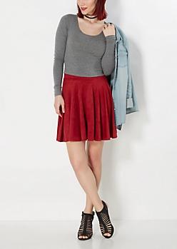 Burgundy Faux Suede Skater Skirt