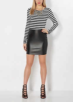 Gold Zip Faux Leather Mini Skirt