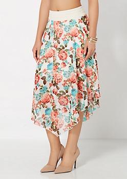 Floral Chiffon Arrow Skirt