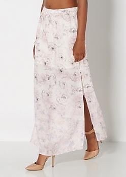 Ivory Roses Maxi Skirt