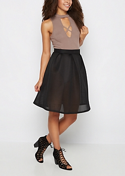 Black Scuba Mesh Skirt