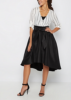 Black Taffeta Midi Skirt
