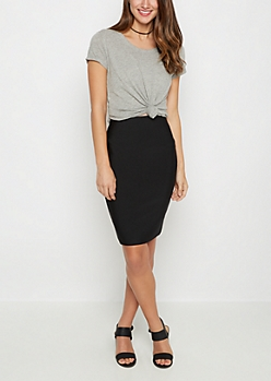Black Bodycon Pencil Skirt