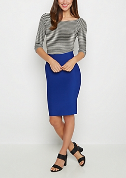 Royal Blue Bodycon Pencil Skirt