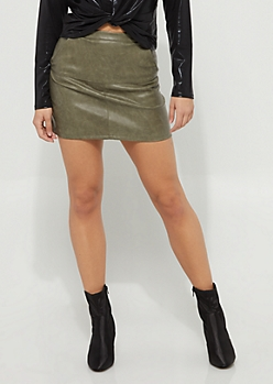 Olive Faux Leather Mini Skirt