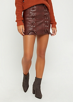 Burgundy Corset Faux Leather Skirt