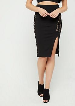 Laced Grommet Midi Skirt