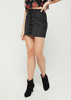 Lace Up Faux Suede Mini Skirt