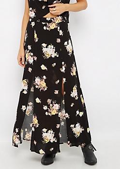 Front Slit Floral Crepe Maxi Skirt