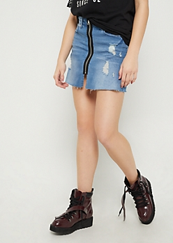 Distressed Zip Down Jean Skirt