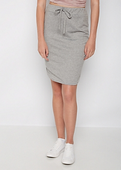 Heather Gray Jersey Knit Skirt