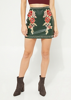 Olive Floral Studded Leather Mini Skirt
