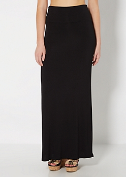 Black Fold-Over Jersey Maxi Skirt