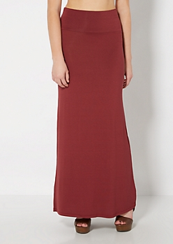 Dark Red Fold-Over Jersey Maxi Skirt
