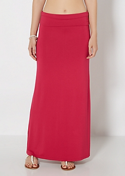 Fuchsia Fold-Over Jersey Maxi Skirt