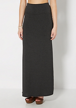 Gray Fold-Over Jersey Maxi Skirt