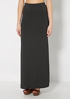 Gray Fold-Over Jersey Maxi Skirt