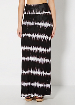 Black Tie Dye Fold-Over Maxi Skirt