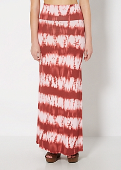 Red Tie Dye Fold-Over Maxi Skirt