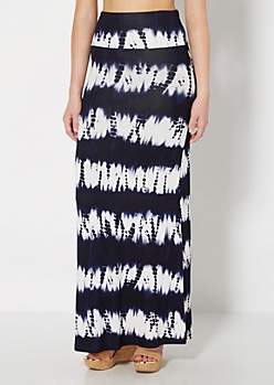 Navy Tie Dye Fold-Over Maxi Skirt