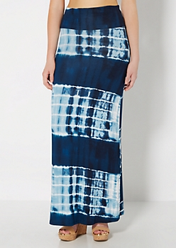 Deep Blue Tie Dye Fold-Over Maxi Skirt