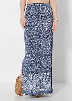 Diamond Tie-Dye Deep Slit Maxi Skirt