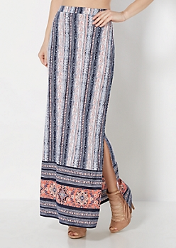 Batik Striped Deep Slit Maxi Skirt
