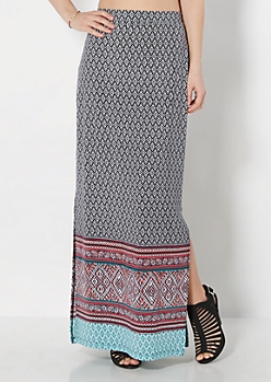 Aztec Diamond Maxi Skirt