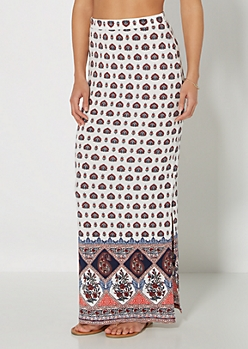 Folk Border Deep Slit Maxi Skirt