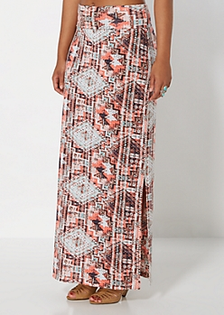 Coral Southwest Fold Over Maxi Skirt