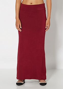 Burgundy Knit Maxi Skirt