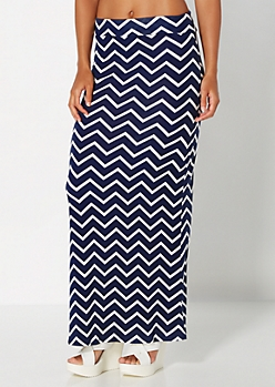 Navy Chevron Knit Maxi Skirt