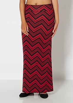 Burgundy Chevron Maxi Skirt