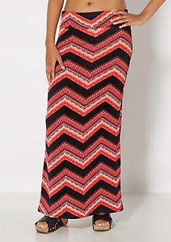 Vibrant Coral Wide Chevron Maxi Skirt