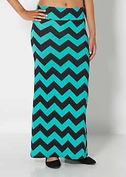 Teal Wide Chevron Maxi Skirt